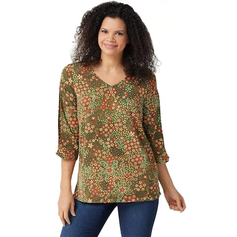 Du Jour Womens Printed Split Sleeve Woven Top X-Large Olive Floral A350929