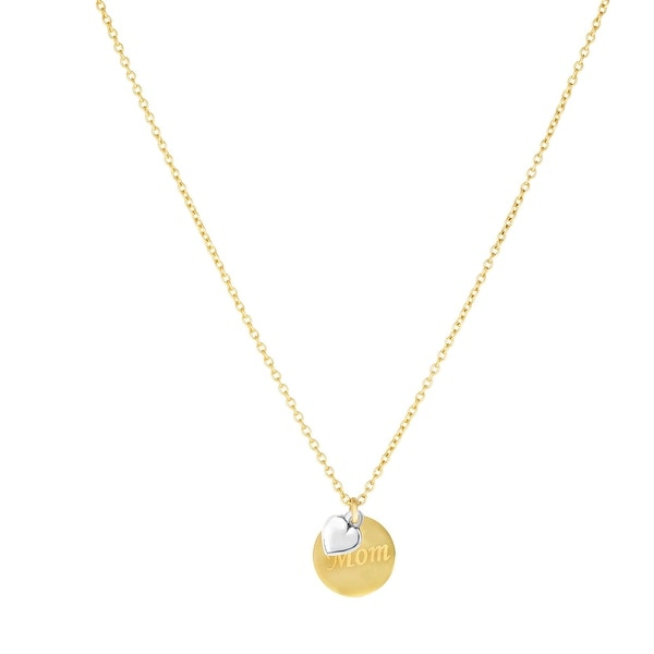 """Mcs Jewelry Inc 14 KARAT TWO TONE, YELLOW GOLD AND WHITE GOLD, HEART """"MOM"""" NECKLACE (18 INCHES) - Multi"""