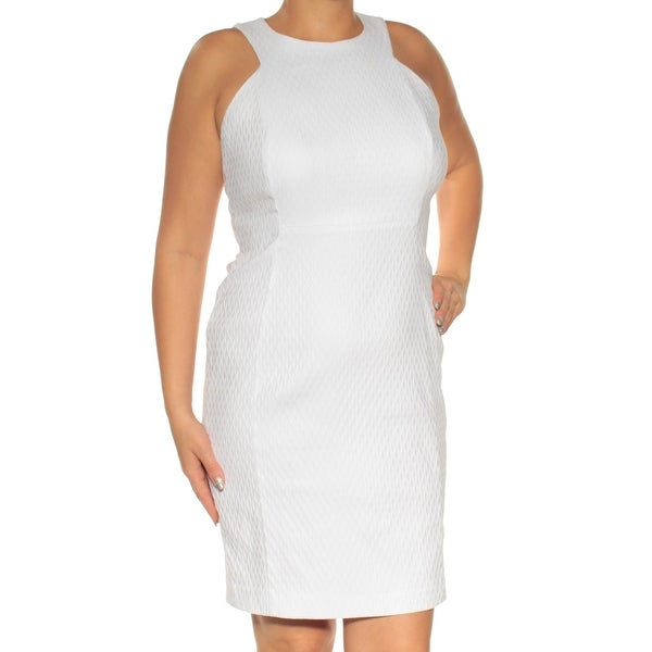eba6d6c9 Shop CALVIN KLEIN Womens White Sleeveless Jewel Neck Above The Knee Body  Con Dress Petites Size: 12 - Free Shipping On Orders Over $45 - Overstock -  ...