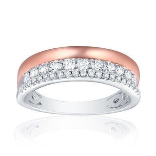 Brand New 0.50ct Round Brilliant Cut G-H/SI1 Natural Diamond Two-Tone Wedding Band - White G-H