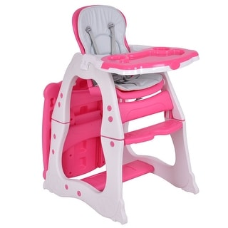 Costway 3 in 1 Baby High Chair Convertible Play Table Seat Booster Toddler Feeding Tray  sc 1 st  Overstock.com & Shop Costway 3 in 1 Baby High Chair Convertible Play Table Seat ...