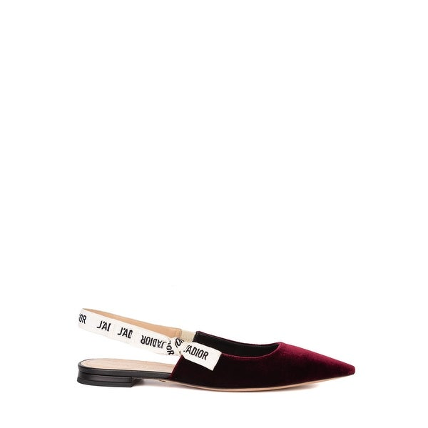 b93bd100 Shop Dior Womens J'Adior Deep Red Velvet Slingback Ballerina Flats ...