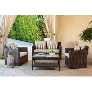 Link to Solaura Outdoor 4-piece Wicker Conversation Set Similar Items in Patio Sets