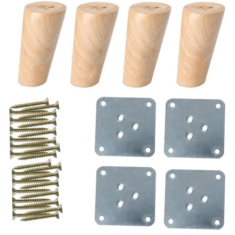 "4"" Solid Wood Furniture Leg Chair Table Sofa Feet Replacement Adjuster Set of 4 - Wood Color"