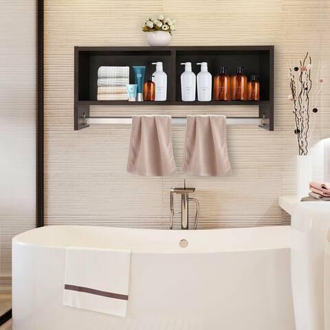 Brown Wall Mount Cabinet Storage Shelf Bathroom Kitchen Corridor