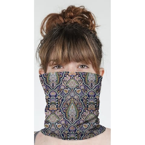 """KIRMAN BLUE AND ORANGE AND GREEN Neck Gaiter By Kavka Designs - 10"""" x 18"""""""