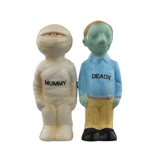 Mummy Deady Halloween Couple Ceramic Salt and Pepper Shakers Magnetic