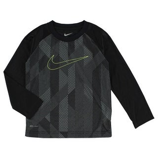 Nike Baby Boys Knurling Print and Swoosh Long Sleeve T Shirt Black - black/charcoal grey - 4