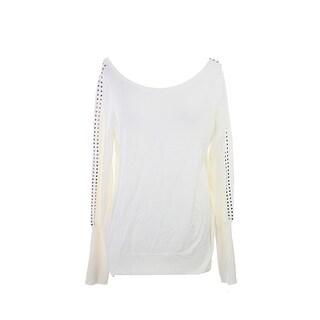 Alfani Cloud Long-Sleeve Stud-Trim Sweater M