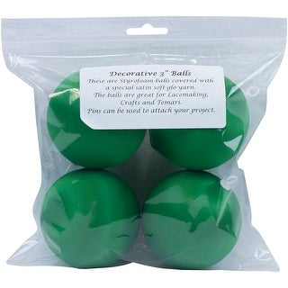 "Decorative Satin Covered Polystyrene Balls 3"" 4/Pkg-Christmas Green"
