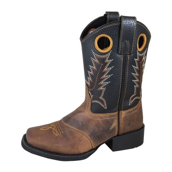 Smoky Mountain Western Boots Boys Luke Pull On Brown Black 3897