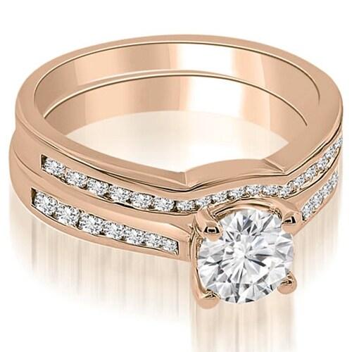 0.94 cttw. 14K Rose Gold Cathedral Channel Set Round Diamond Bridal Set