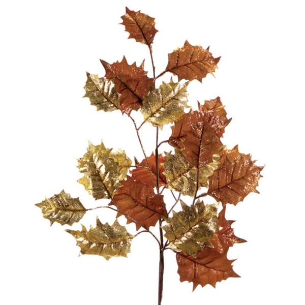 Pack of 6 Artificial Sparkling Brown and Gold Christmas Holly Leaf Sprays 33""