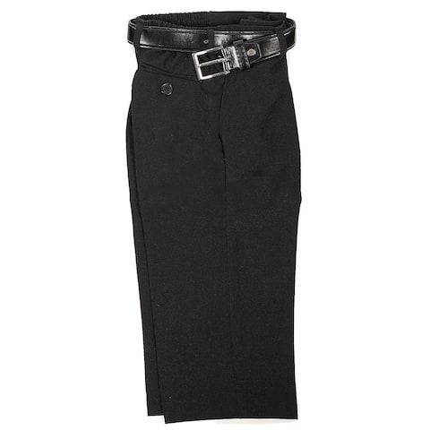 Rafael Boys Black Dress Pants Matching Black Belt Set