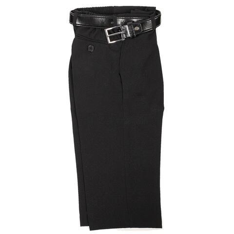 Rafael Little Boys Black Dress Pants Matching Black Belt Set