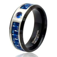 8mm Two-Tone Stainless Steel Ring w/ Blue Carbon Fiber Inlay & Blue CZ