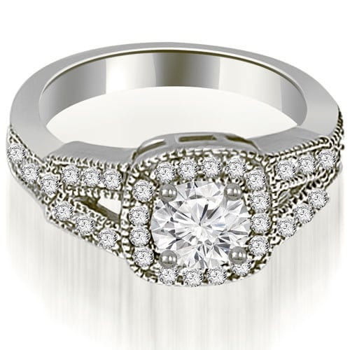 1.10 cttw. 14K White Gold Antique Round Cut Diamond Engagement Ring