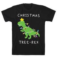 Christmas Tree Rex Black Men's Cotton Tee by LookHUMAN