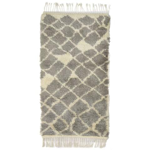 "One of a Kind Hand-Knotted Shag 3' x 5' Geometric Wool Grey Rug - 2'8""x4'11"""