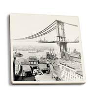 Manhattan Bridge Construction NYC - Vintage Photo (Set of 4 Ceramic Coasters)