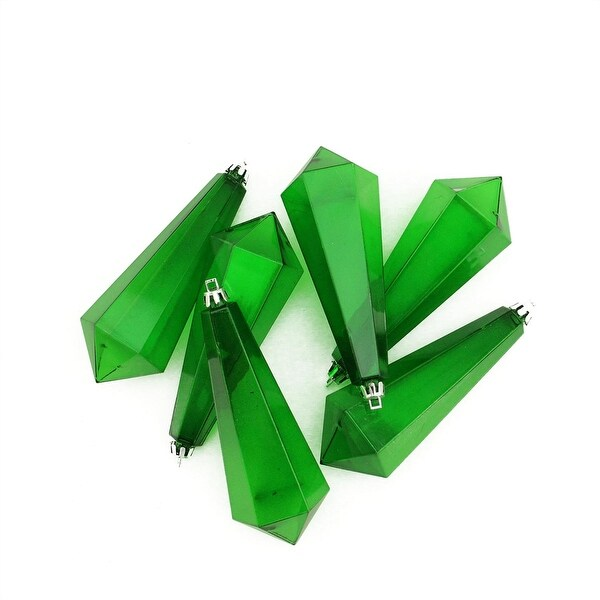 6ct Xmas Green Transparent Shatterproof Diamond Shaped Icicle Christmas Ornaments 5.5""