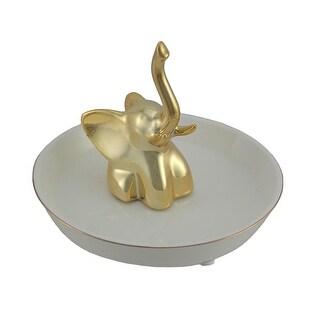 Gold Painted Elephant White Ceramic Jewelry Dish Ring Holder