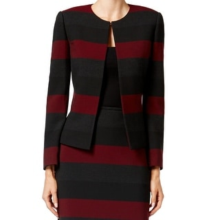 Tahari By ASL NEW Red Gray Women's Size 4 Striped Colorblock Jacket