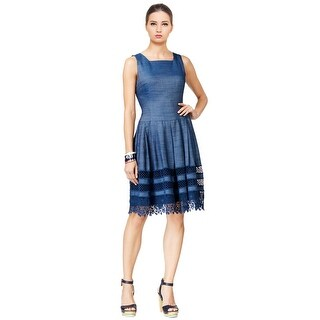 Tommy Hilfiger Crochet Fit & Flare Sleeveless Dress - 2