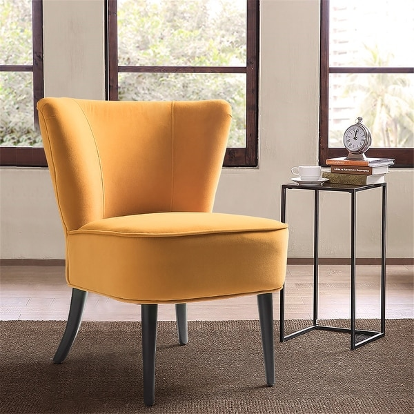 """Emille Velvet Armless Wingback Chair - 23.8""""wx26""""dx28.9""""h. Opens flyout."""