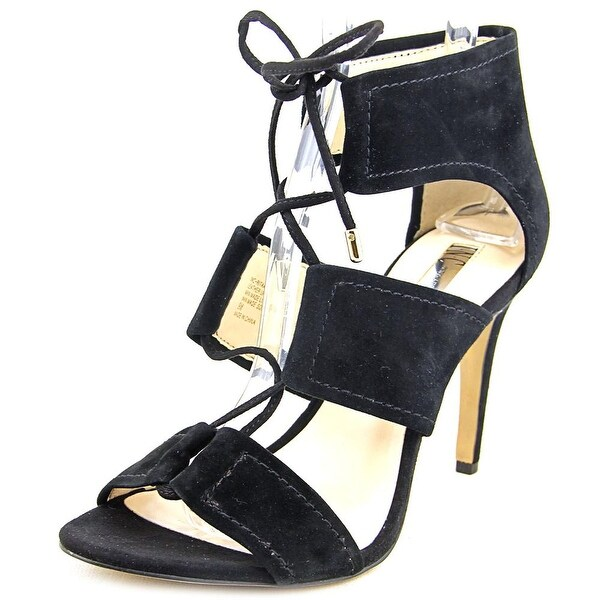 INC International Concepts Ritaa Women Open Toe Suede Black Sandals