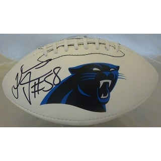 Thomas Davis Autographed Carolina Panthers White Panel Logo Football JSA