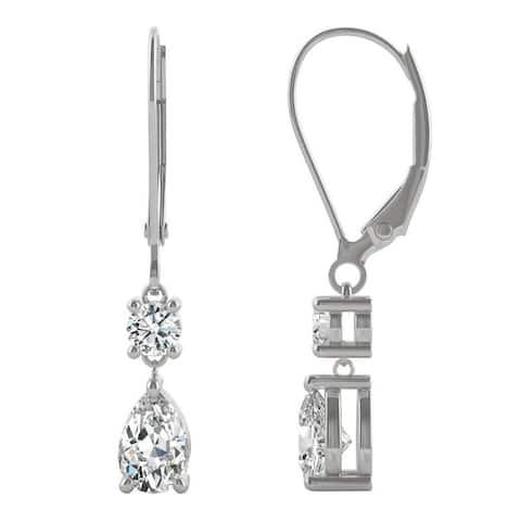 14k White Gold Moissanite by Charles & Colvard Pear Leverback Drop Earrings 1.06 TGW