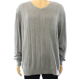 John Ashford NEW Gray Heather Mens Size Large L V-Neck Pullover Sweater