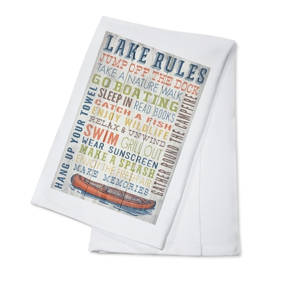 Lake Rules - Rustic Typography - LP Artwork (100% Cotton Towel Absorbent)