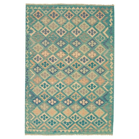 ECARPETGALLERY Flat-weave Bold and Colorful Turquoise Wool Kilim - 6'9 x 9'8