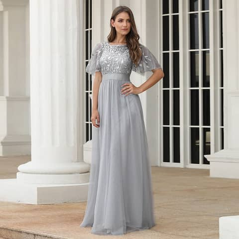 Ever-Pretty Womens Elegant Embroidery A-Line Bridesmaid Evening Dresses for Women 00904