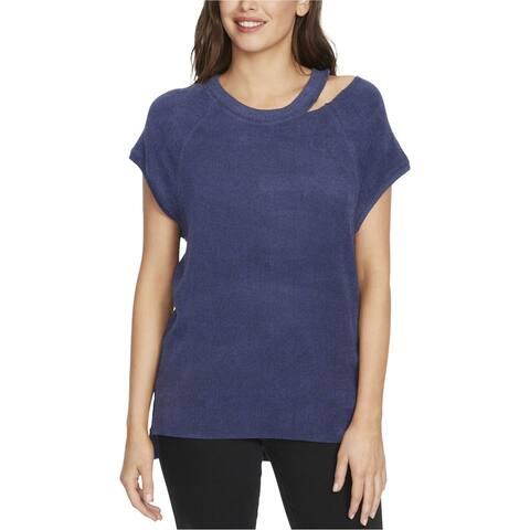 William Rast Womens Riley Basic T-Shirt, Blue, Large