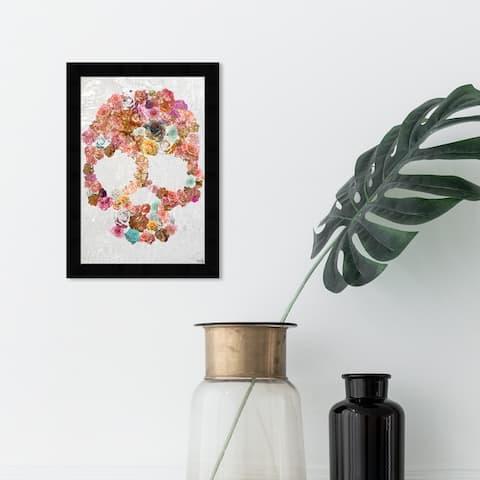 Oliver Gal 'Skull of Roses' Floral and Botanical Wall Art Framed Print Florals - Pink, White