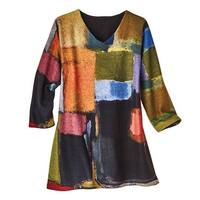 Women's Pullover - Watercolor Blocks Brushed Tunic Top - 3/4 Sleeves