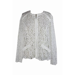Inc International Concepts Plus Size Washed White Crocheted Jacket 0X