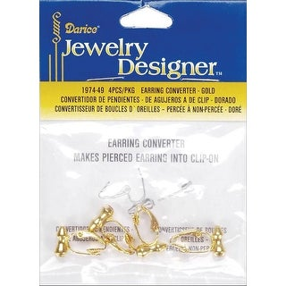 Earring Converters Pierced To Clip-On 4/Pkg-Gold - GOLD