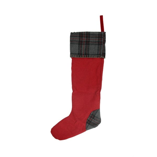 """28"""" Rustic Chic Red Decorative Wool Christmas Stocking with Gray Plaid Cuff"""