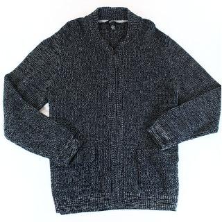 Alfani NEW Deep Black Mens Size 2XL Marled Full Zip Texture Sweater
