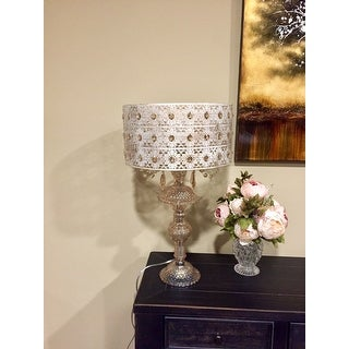 Jeweled Blossoms Champagne Glass And Metal 24 Inch Table