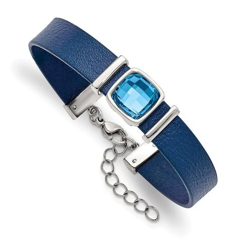 Chisel Stainless Steel Polished Blue Leather and Crystal with 1.25 Inch Extension 7 Inch Bracelet