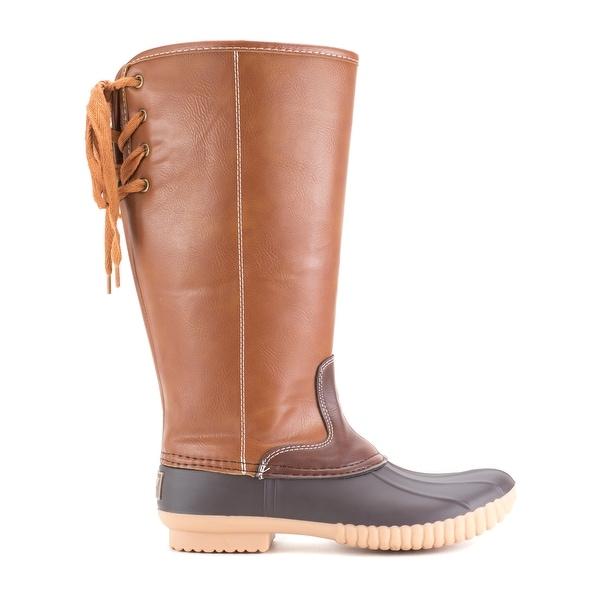 d10dc128e Shop Women's Avanti Knee-High Duck Boots - Faux Leather Wide Calf ...