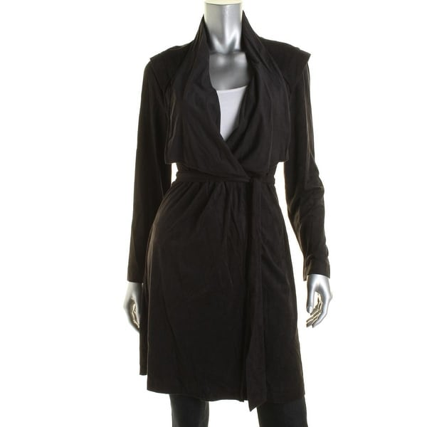 NY Collection Womens Jacket Faux Suede Wrap