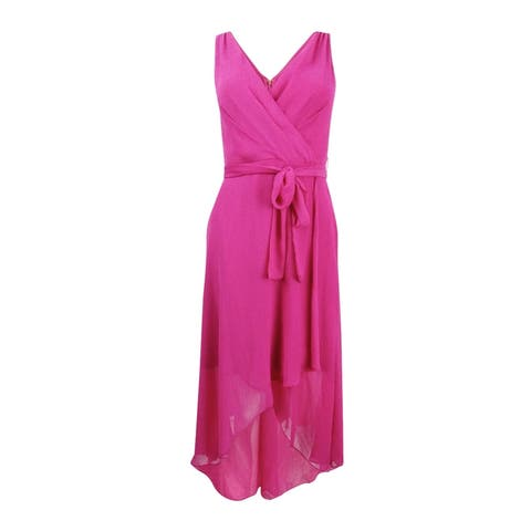 dfe17562329 DKNY Women s Pebble Chiffon High-Low Dress - Watermelon