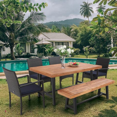 MFSTUDIO Seat up to 6, 6-Piece Patio Dining Set Acacia Wood/Rattan 6 Person Outdoor Dining Furniture Set for Backyard and Garden
