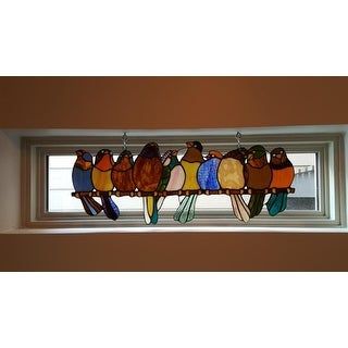 River of Goods Birds on a Wire 9.25-inch Stained Glass Window Panel